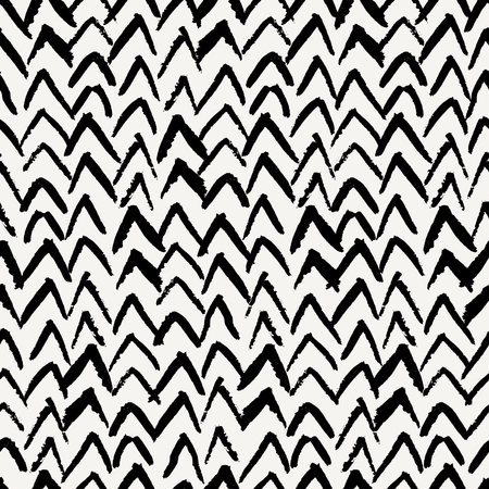wall paper: Hand drawn seamless chevron pattern in black and cream. Modern textile, wall art, wrapping paper, wallpaper design.