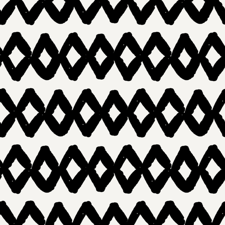 grunge backgrounds: Hand drawn seamless diamond shapes pattern in black and cream. Modern textile, wall art, wrapping paper, wallpaper design.