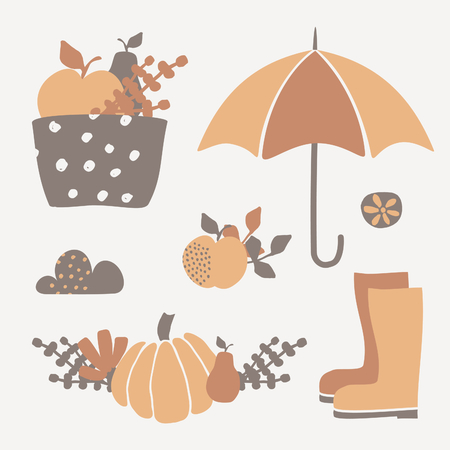 A set of autumn design elements isolated on cream background. Pumpkin and fruits, basket with apples, umbrella and other objects in warm brown and orange colors.