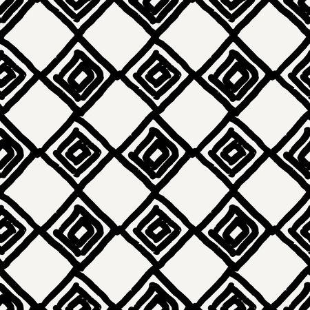 tribal pattern: Hand drawn seamless diamond shapes pattern in black and cream. Modern textile, wall art, wrapping paper, wallpaper design.