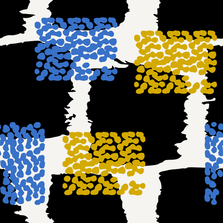 textile texture: Hand drawn seamless abstract pattern in blue, yellow, black and cream. Modern textile, wall art, wrapping paper, wallpaper design.
