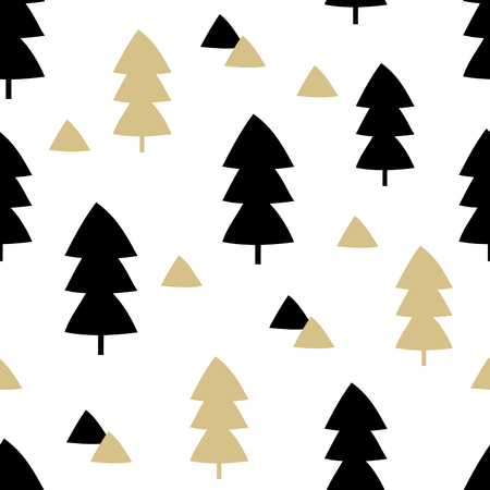 winter tree: Seamless repeating pattern with Christmas trees and triangle shapes in black and gold on white background. Stylish minimalist Christmas wallpaper, wrapping paper, wall art design.