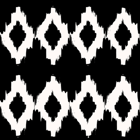 textiles: Hand drawn seamless tribal pattern in black and cream. Modern textile, wall art, wrapping paper, wallpaper design.