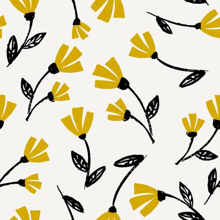 검정, 겨자 노란색과 크림에서 원활 하 게 반복 꽃 패턴. 아름 다운 꽃 섬유, 벽지, 포장지, 벽 예술 디자인. 일러스트
