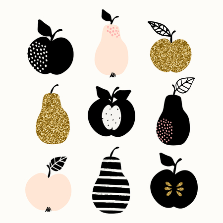 golden apple: A set of pears and apples in gold glitter, pastel pink and black isolated on white background. Modern and stylish greeting card, wall art, poster design.