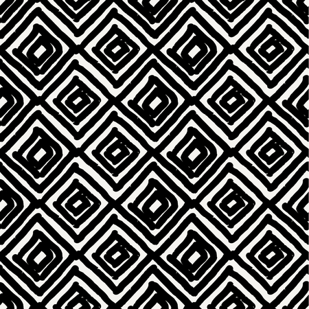 Hand drawn seamless diamond shapes pattern in black and cream. Modern textile, wall art, wrapping paper, wallpaper design.