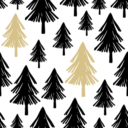 seamless repeating pattern with christmas trees in black and gold on white background stylish minimalist - Christmas Tree Black