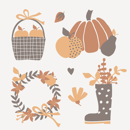 decorative objects: A set of autumn design elements isolated on cream background. Pumpkin and fruits, basket with apples, decorative wreath and other objects in warm brown and orange colors.