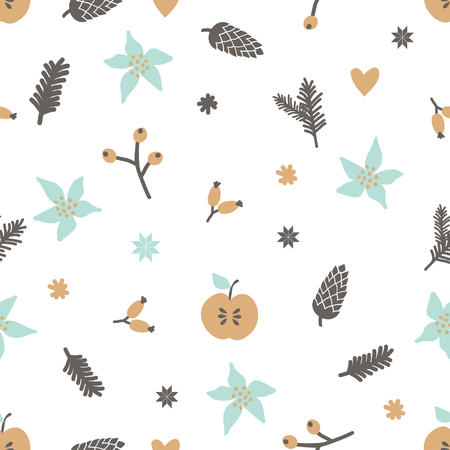traditional pattern: Winter seamless pattern with berries, snowflakes, branches and pinecones in light, blue, brown and yellow on white background. Illustration