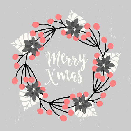 Christmas greeting card design with floral wreath decoration and hand lettered text. Modern winter season postcard, brochure, wall art design.