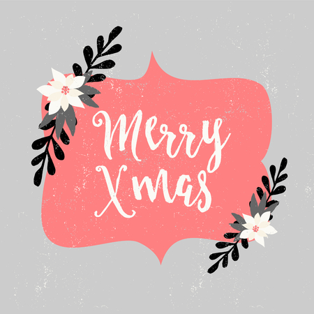 pink and black background: Christmas greeting card design with floral decoration and hand lettered text. Modern winter season postcard, brochure, wall art design. Illustration