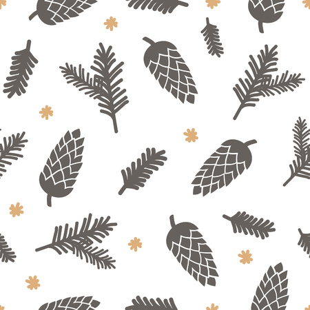 conifers: Winter seamless pattern with pinecones, snowflakes and Christmas tree branches in brown and yellow on white background. Illustration