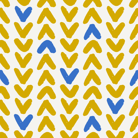 Hand drawn seamless chevron pattern in blue, yellow and cream. Modern textile, wall art, wrapping paper, wallpaper design. Illustration