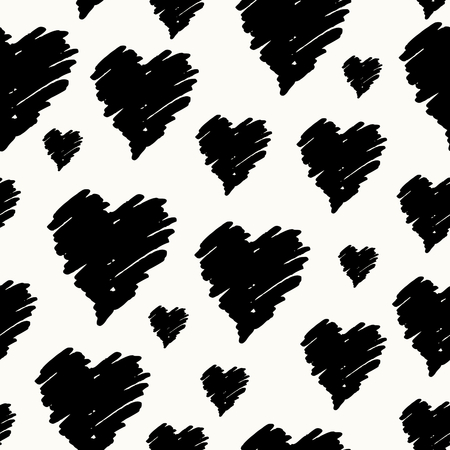 romance: Hand drawn seamless repeating pattern with hearts in black and cream. Modern and stylish romantic design poster, wrapping paper, Valentine card design. Illustration