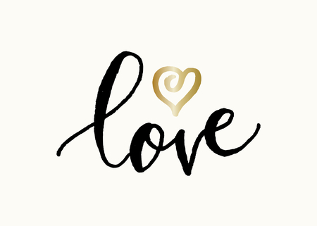 Cute and modern typographic design St. Valentines Day greeting card template. Hand lettered text love in black with golden heart on cream background.