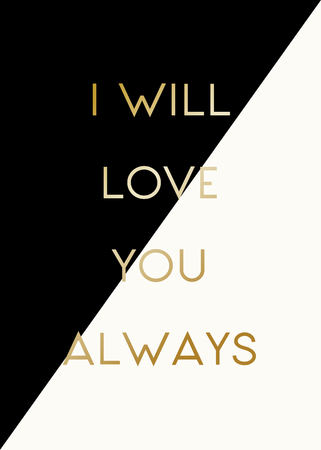 diagonal: Modern and stylish greeting card template for Valentines Day with text in gold on black and cream geometric background.