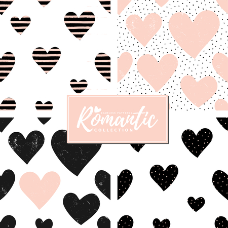 sripes: A set of four cute seamless repeating patterns with hearts in black and pastel pink on white background. Modern and stylish romantic design poster, wrapping paper, Valentine card design.