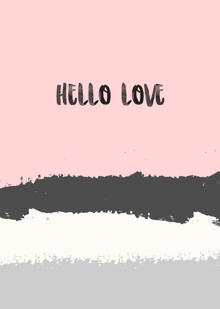 Creative greeting card template for Valentines Day with abstract brush strokes in pastel colors and modern calligraphy text design. Ilustrace