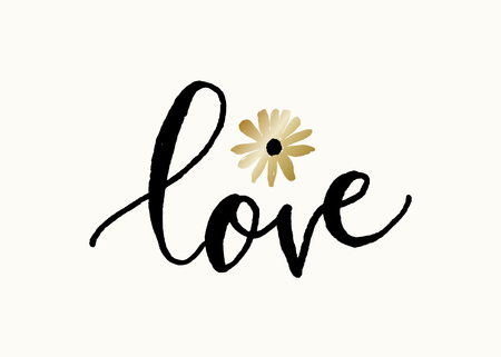 Cute and modern typographic design St. Valentines Day greeting card template. Hand lettered text love in black with golden flower on cream background. Illustration