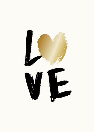 Cute and modern typographic design St. Valentines Day greeting card template. Hand lettered text Love in black and gold on cream background.