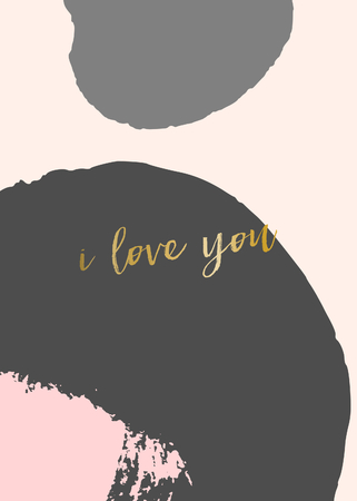gray: Creative greeting card template for Valentines Day with abstract brush strokes in pastel colors and modern calligraphy text in gold.