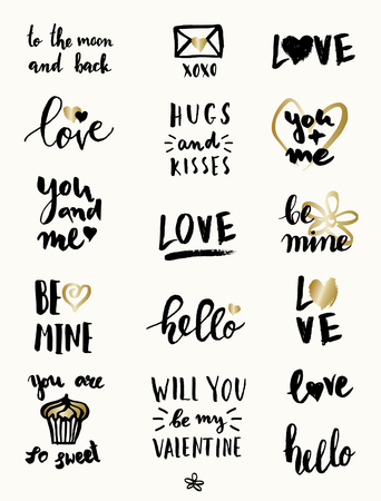 envelope: A set of cute and modern typographic designs for St. Valentines Day. Hand drawn elements and lettering designs in black and gold, perfect for greeting cards, invitations, posters, mugs, etc.