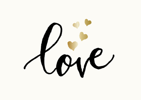 st: Cute and modern typographic design St. Valentines Day greeting card template. Hand lettered text love in black with golden hearts on cream background.