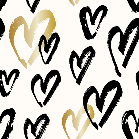 black background: Hand drawn seamless repeating pattern with hearts in black and gold on cream background. Modern and stylish romantic design poster, wrapping paper, Valentine card design.