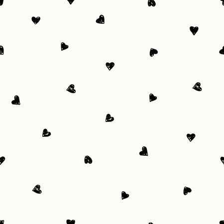 Hand drawn seamless repeating pattern with hearts in black and cream. Modern and stylish romantic design poster, wrapping paper, Valentine card design.