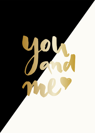 Modern and stylish greeting card template for Valentines Day with text in gold on black and cream geometric background.