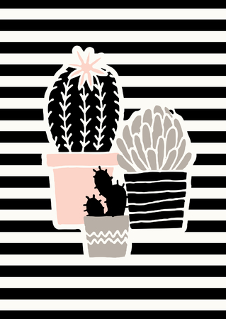 strip design: Hand drawn succulent plants in black, gray and pastel pink on striped background.