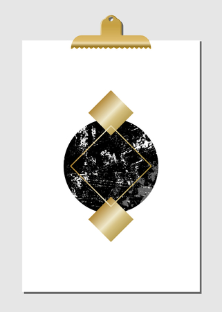 sheet of paper: Geometric shapes in black, golden and turquoise on white paper with golden clip. Modern and stylish wall art decor, greeting card, wallpaper design.