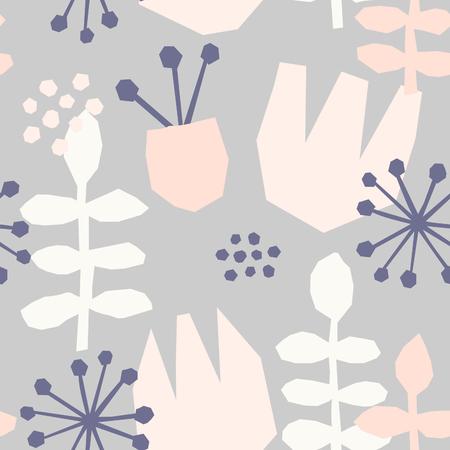 motif répétitif Seamless avec des éléments floraux dans des couleurs pastel sur fond crème. Vecteurs