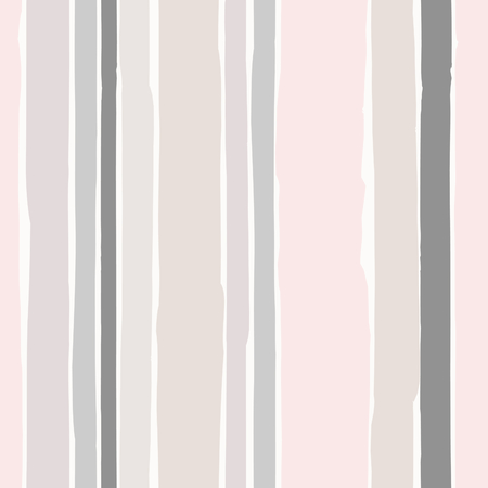 Seamless repeating pattern with hand drawn stripes in pastel colors on cream background.