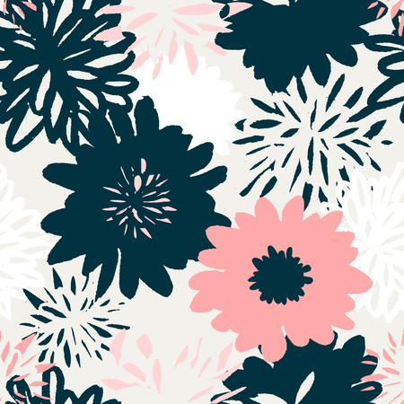 abstract flowers: Seamless repeating pattern with floral elements in pastel colors on cream background.