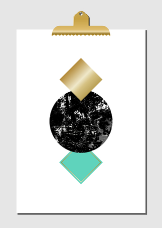 decor graphic: Geometric shapes in black, golden and turquoise on white paper with golden clip. Modern and stylish wall art decor, greeting card, wallpaper design.