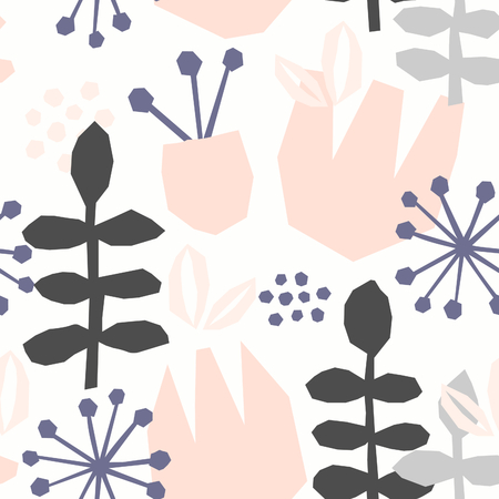abstract flowers: Seamless repeating pattern with floral elements in pastel colors on white background. Illustration
