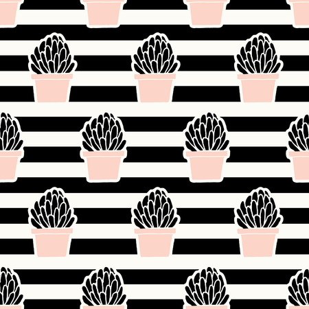 striped: Hand drawn seamless repeating pattern with succulent plants in black and pastel pink on striped background. Illustration