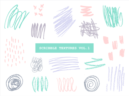 crayon: A set of hand drawn scribble textures in pastel colors isolated on white background.