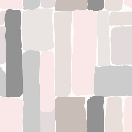illustration abstract: Seamless repeating pattern with hand drawn elements in pastel colors on cream background. Illustration