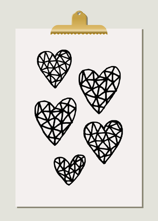 black background: Hand drawn heart shapes in black and gold on cream paper with golden clip. Modern and stylish wall art decor, greeting card, wallpaper design. Illustration