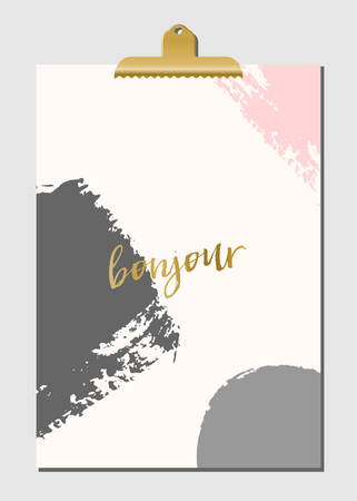 grey background texture: Modern and stylish poster design with golden clip. Hand drawn brush strokes in pastel pink and gray with text in golden on cream background. Bonjour - Hello in French.