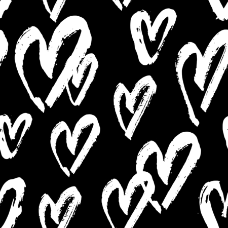 decor graphic: Hand drawn seamless repeating pattern with hearts in black and white. Modern and stylish romantic design poster, wrapping paper, Valentine card design.