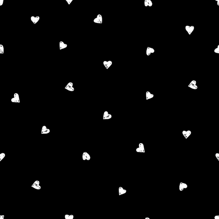 black background: Hand drawn seamless repeating pattern with hearts in black and white. Modern and stylish romantic design poster, wrapping paper, Valentine card design.