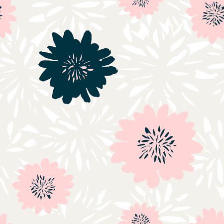 motif répétitif Seamless avec des éléments floraux dans des couleurs pastel sur fond crème.