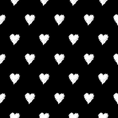 symetric: Hand drawn seamless repeating pattern with hearts in black and white. Modern and stylish romantic design poster, wrapping paper, Valentine card design.