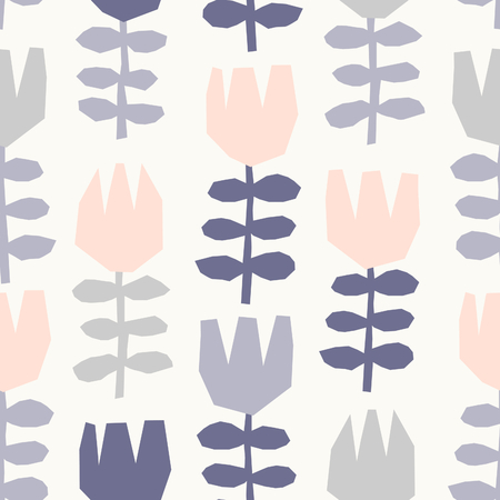 leaf: Seamless repeating pattern with floral elements in pastel colors on cream background.