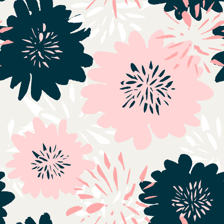 pastel colors: Seamless repeating pattern with floral elements in pastel colors on cream background.