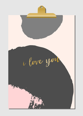 gray: Modern and stylish poster design with golden clip. Hand drawn brush strokes in pastel pink and gray with text in golden.