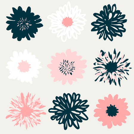 simple: A set of nine hand drawn floral blossoms in pastel pink, white and dark blue isolated on cream background. Illustration